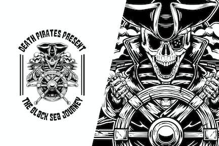 Skeleton Captain Pirate Vector Illustration
