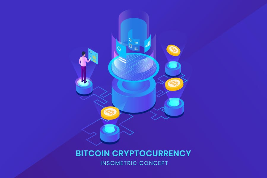 Bitcoin Cryptocurrency - Insometric Vector