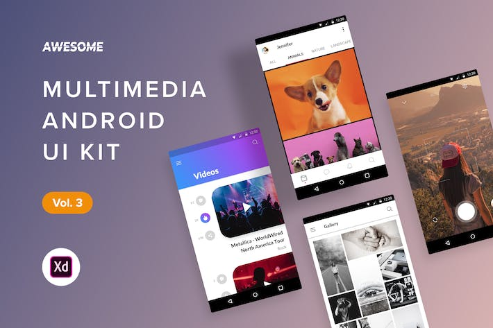 Thumbnail for Android UI Kit - Multimedia Vol. 3 (Adobe XD)