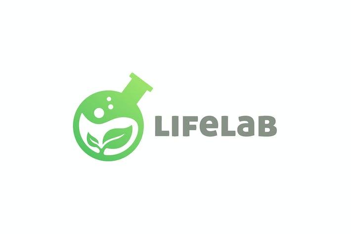 Thumbnail for Moderner Laborflask und Leaf Negative Space Logo