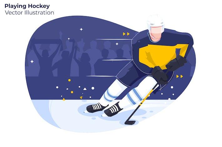 Playing Hockey - Vector Illustration