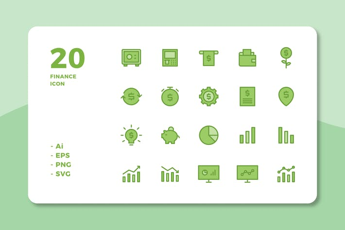 Thumbnail for 20 Finance Icons (Lineal Color)