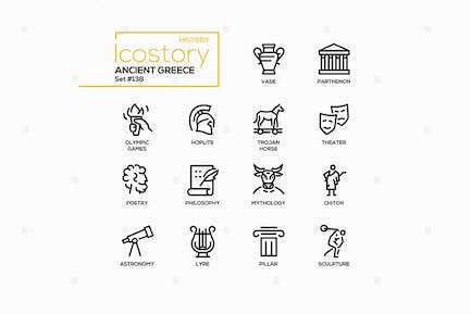Ancient Greece - Line Design Style Icons Set