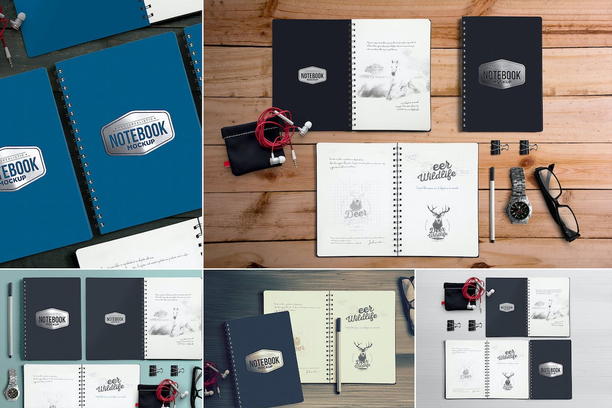 Download 5 Notebook Mockups With Movable Elements by zippypixels by Unknow
