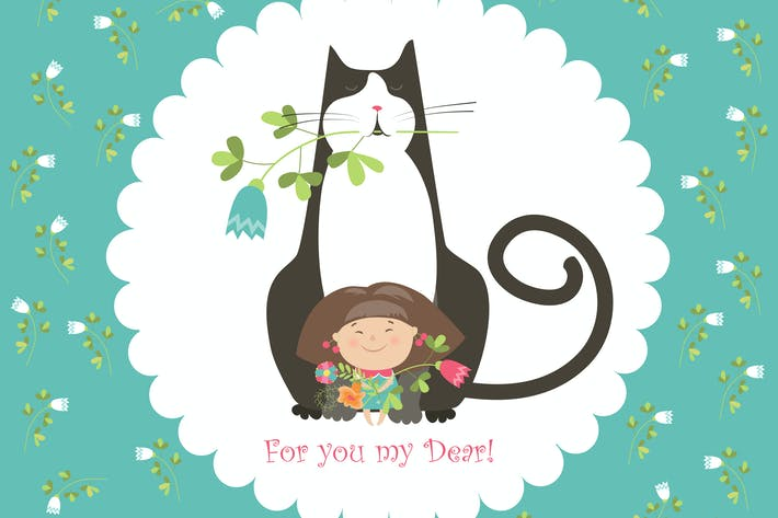 Thumbnail for Little girl and her cat. Vector greeting card