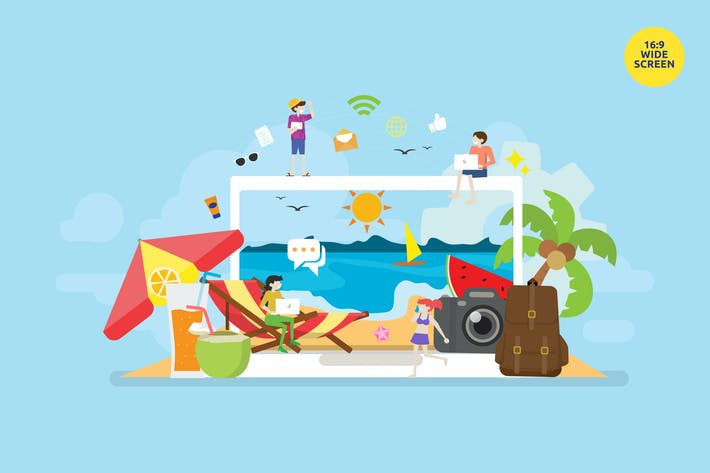 Thumbnail for Digital Nomad Vector Illustration Concept