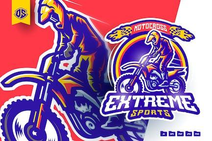 Motocross Mascot Logo Template