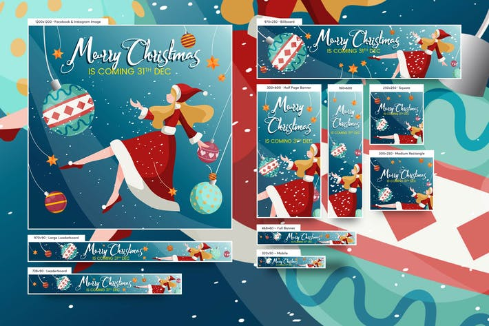 Cover Image For Merry Christmas Beautiful Girl Banners Ad