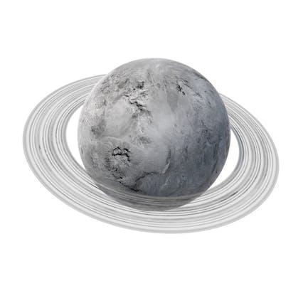Fiktionaler weißer Planet mit Ring