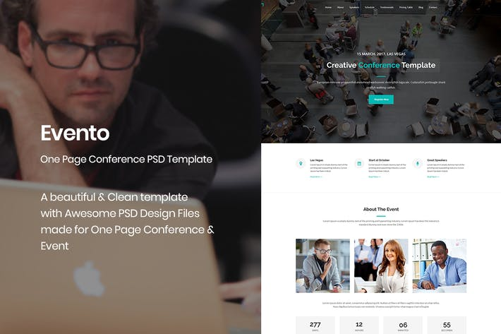 Thumbnail for Evento - One Page Conference & Event PSD Template