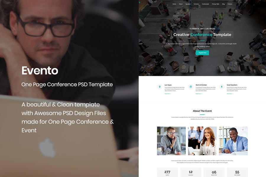 Evento - One Page Conference & Event PSD Template