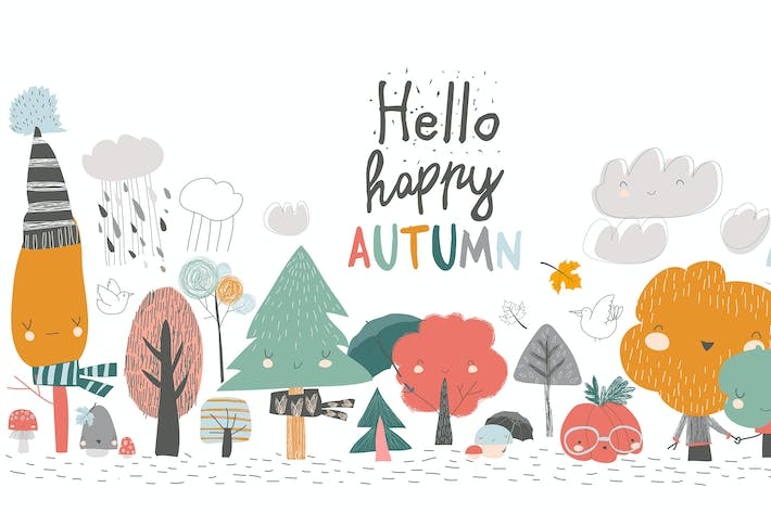 Thumbnail for Colorful autumn trees. Cartoon yellow orange autum
