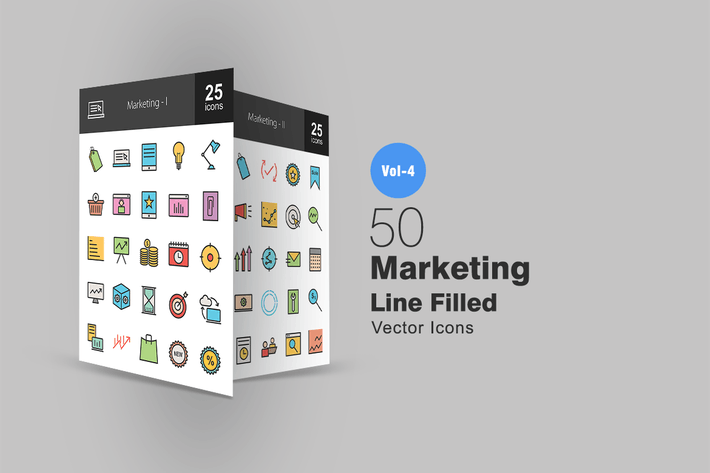 Cover Image For 50 Marketing Line Filled Icons