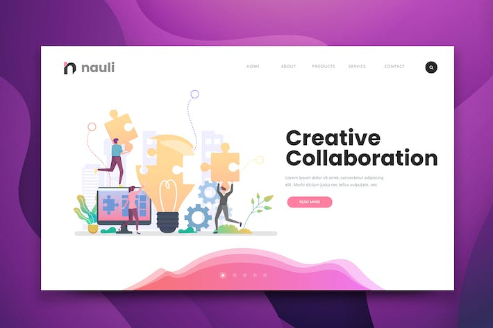 Thumbnail for Creative Collaboration Web PSD and AI Template