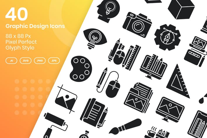 Thumbnail for 40 Graphic Design Icons Set - Glyph