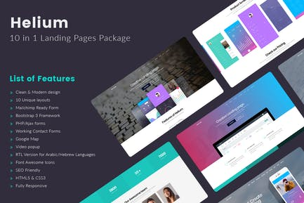 Helium - 10 in 1 Landing Pages HTML Template