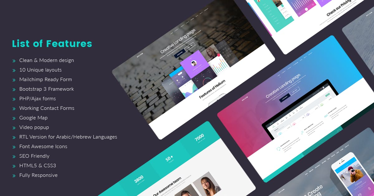 Helium - 10 in 1 Landing Pages HTML Template by Jthemes on