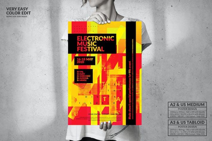Thumbnail for Festival de musique Électronique - Big Poster Design