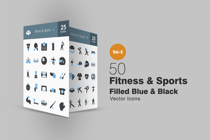 Thumbnail for 50 Fitness & Sports Blue & Black Icons