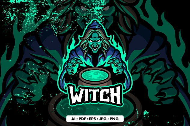 Witch Mascot Logo