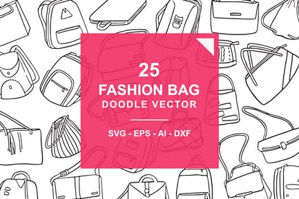 Fashion Bag Doodle Vector