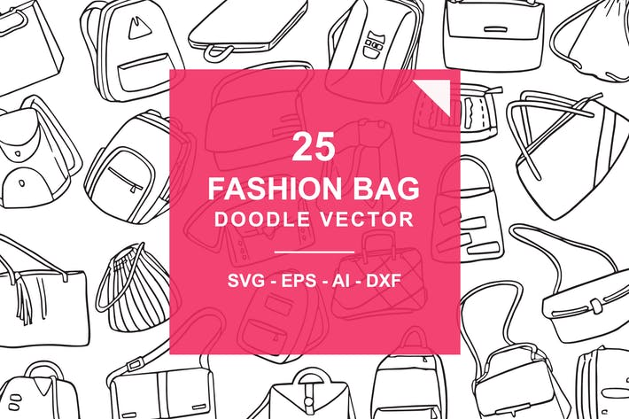 Thumbnail for Fashion Bag Doodle Vector