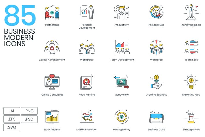 Thumbnail for 85 Modern Business Icons