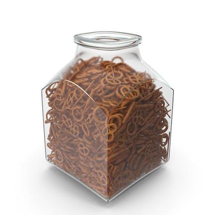 Square Jar With Mixed Pretzels