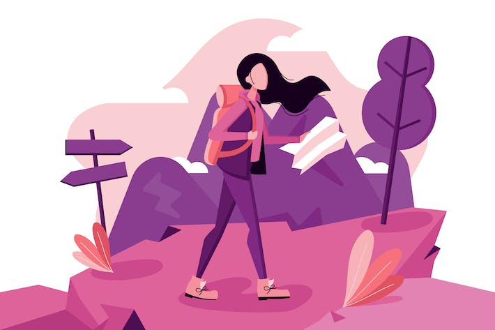 Thumbnail for Girl Walking in Nature Illustration