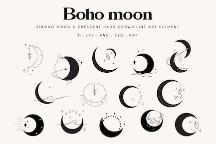 21 Celestial Boho moon illustration element