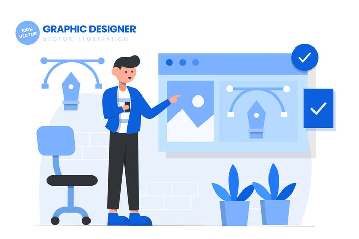 Thumbnail for Graphic Designer Flat Vector Illustration