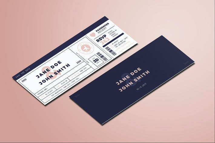 Cover Image For Boarding Pass Wedding Invitation