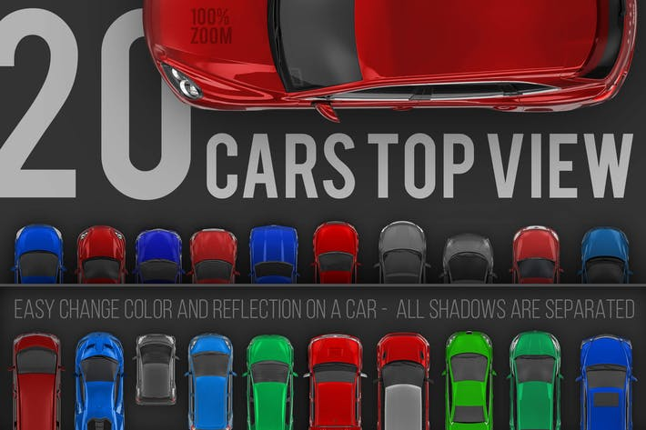 Thumbnail for 20 Cars top view renders