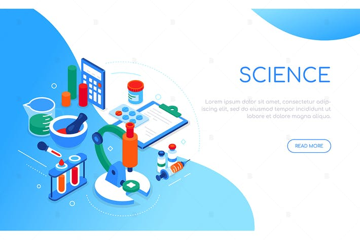 Thumbnail for Science and medicine - colorful isometric banner