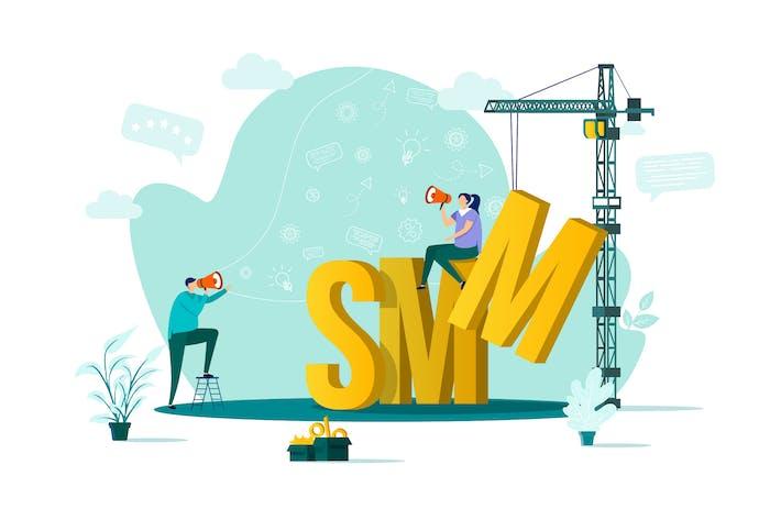 Thumbnail for SMM Flat Concept Vector Illustration