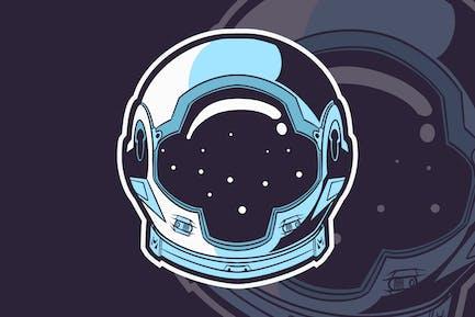 Astronauta Casco Gráfico Aislado