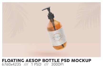 Floating Amber Aesop Bottle PSD Mockup