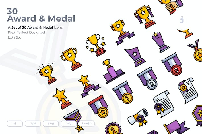 Thumbnail for 30 Award & Medal Icons