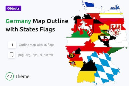Outline map of Germany with States Flags