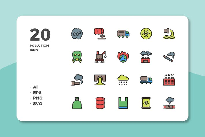 Thumbnail for 20 Pollution Icons (Lineal Color)