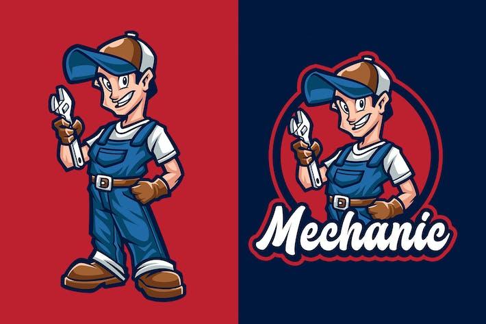 Thumbnail for Mechanic Mascot Character Logo Template