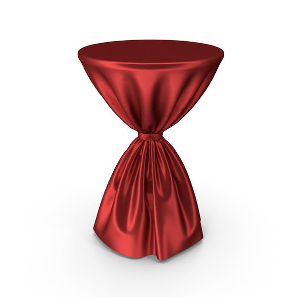 Red Silk Tablecloth Cocktail Table