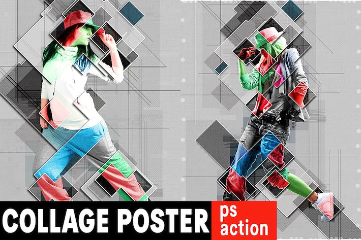 Thumbnail for Collage Graphic Poster Photoshop Action