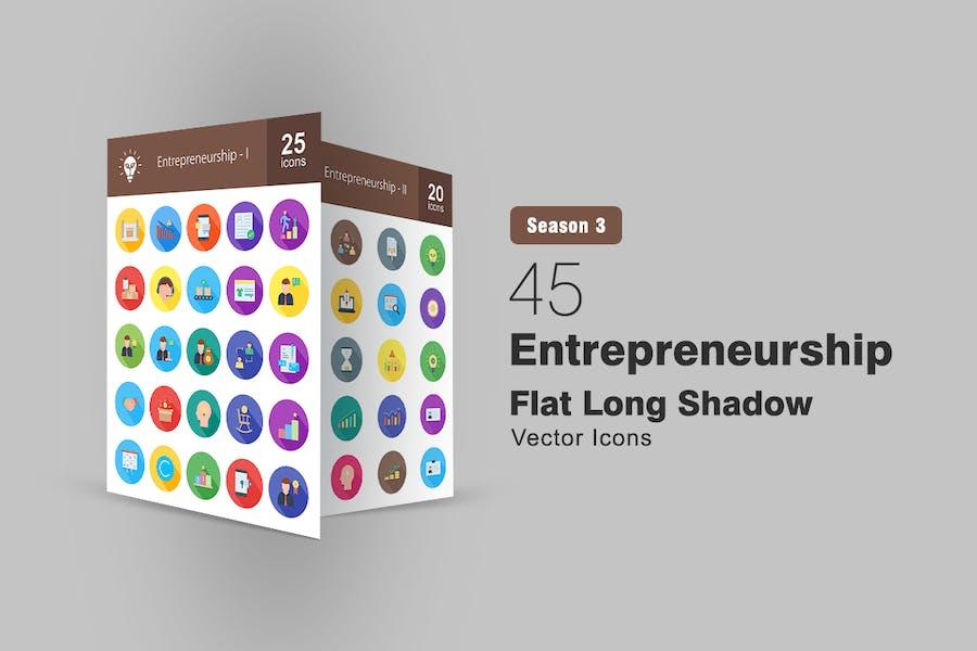 45 Entrepreneurship Flach Lange Schatten Icons