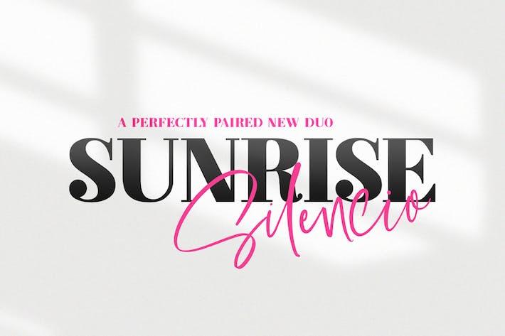 Thumbnail for Sunrise Silencio Script Dúo de fuentes
