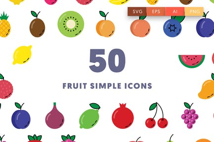 50 Fruit Simple Icons