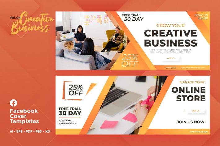Thumbnail for Facebook Cover Templates Vol.04 Creative Business