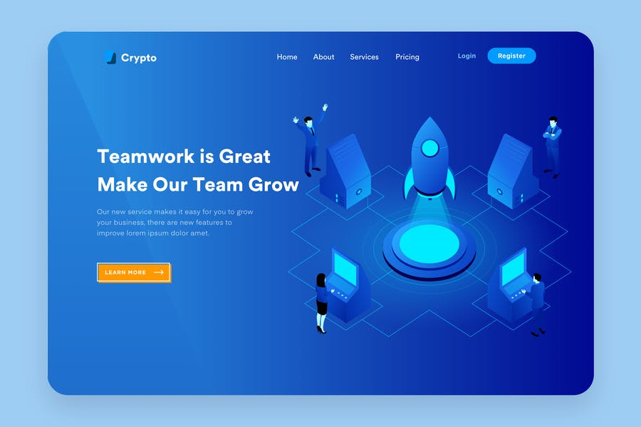 Start Up Teamwork Desktop Header Illustration