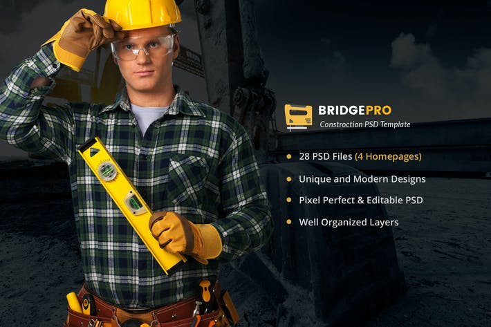 Thumbnail for BridgePro | Construction & Building PSD Template