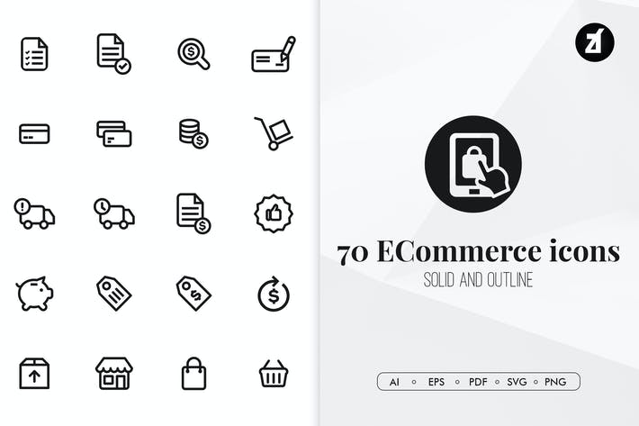 Thumbnail for 70 E-commerce minimal icons